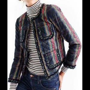 J. Crew Stewart Plaid Quilted Lady Jacket Sz 0